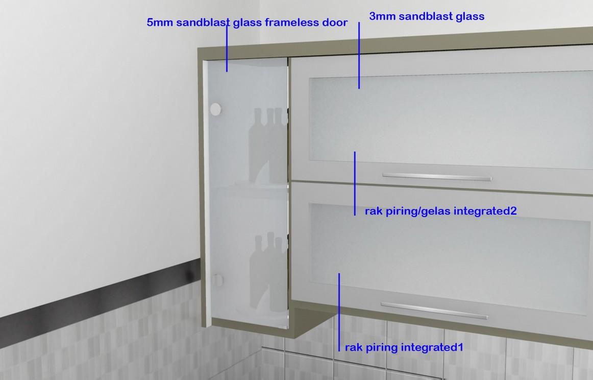 Kitchen set minimalis pintu kaca engsel hidrolis kitchen for Desain kitchen set aluminium