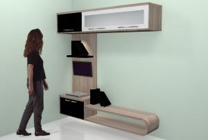 rak TV dan bekgron dinding minimalis furniture semarang