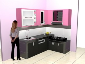kitchen set minimalis warna pink