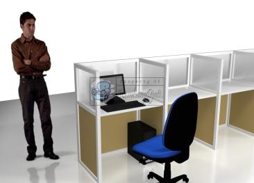 Meja Partisi Kaca Meja Sekat Kantor 8 Orang - Pesan Furniture Online - Furniture Semarang
